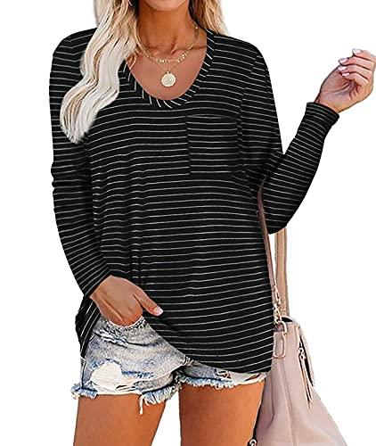DEMO Damen Kurzarm V Ausschnitt T Shirts Lässige Sommer Tunika Tops Shirts Oberteil mit Tasche (Langarm-Streifen schwarz, L)