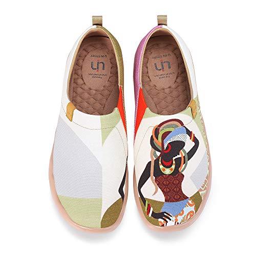 UIN Afrikanische Schönheit Bemalte Canvas Slip On Schuhe Damen Beige (39)
