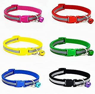 RvPaws Adjustable Collar Safety Buckle with Bells for Pet Puppy, Cat, Dog Nylon, (Pack of 2)