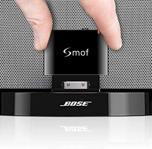 Smof Premium 30 Pin Bluetooth Adapter für Sounddock, Ersatz für iPod/Telefon Verbinden Sie Sich mit Bose/JBL/Auto, Wireless Audio Receiver 3,5 mm AUX