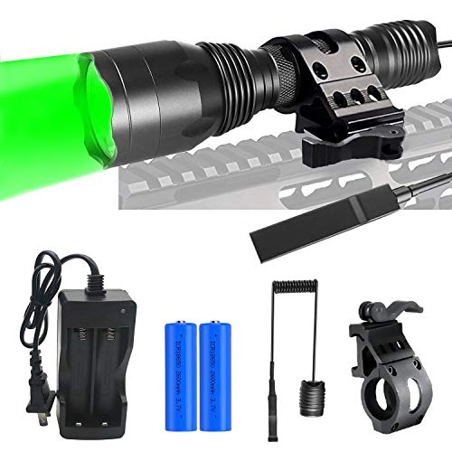 Freelight Green Hunting Light for ar15, 250 Yards Coyote Predator Tactical Flashlights with Quick Release Picatinny Rail Mount, Dual Control Switch, Rechargeable Batteries and Charger Included