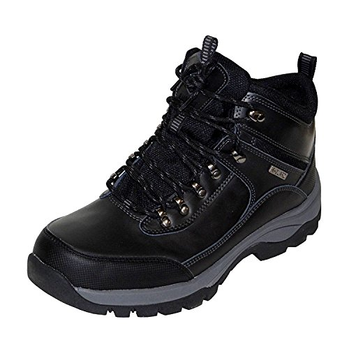 Khombu Mens Summit Leather Hiker Boots (Black, 8)
