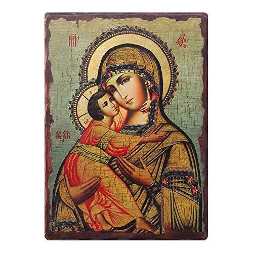Holyart Russische Ikone, Malerei und D?coupage, Gottesmutter von Wladimir, 18x14 cm