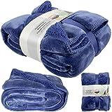 Trendyshop365 Wohndecke 150x200cm Kuscheldecke Flanell Sherpa Tagesdecke (Farbe royal-blau)