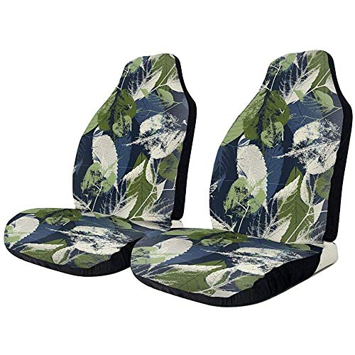 Fundas de asiento de coche con hojas de parche, color azul, elástico completo, protectores de asiento de coche, ajuste universal para la mayoría de coches/camiones/todoterrenos,