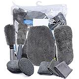 Kit de Limpieza de Lavado de Coches, Herramientas de Limpieza para el Cuidado del Automóvil Regalo 10PCS Set para Limpiar Interior, Exterior, Ruedas Cuero, Salidas de Aire, Emblemas, etc