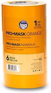 "IPG ProMaskOrange Contractor Grade Painter's Masking Tape, 1.41"" x 60 yd, Orange (6 Pack)"