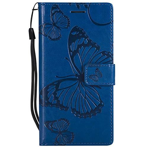 DENDICO Cover Huawei P8, Pelle Portafoglio Custodia per Huawei P8 Custodia a Libro con Funzione di appoggio e Porta Carte di cRossoito - Blu