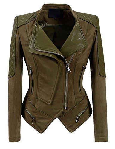 Yeokou Women's Casual Slim Short Suede Faux Pu Leather Punk Moto Biker Jacket