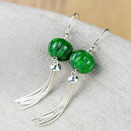 WOZUIMEI Chinese Style Earrings Eardrop 925 Silver Women's Retro Jade Tassel Earrings Long Sterling Silver Jewelry Silver EarringsAs Shown
