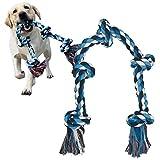 犬おもちゃ 犬用噛むおもちゃ玩具 犬ロープおもちゃ 中型犬 大型犬 ペット用 丈夫 天然コットン ストレス解消 運動不足解消 耐久性 清潔 歯磨き 5ノットの犬のロープのおもちゃ