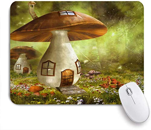 Benutzerdefiniertes Büro Mauspad,Fantasie Wald Fee Haus Pilz Cottage Grüne Bäume Wiese Bunte Blumen,Anti-slip Rubber Base Gaming Mouse Pad Mat