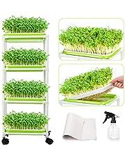 Seed Sprouter Tray kiemschaal voor sporten, kiemschaal voor sporten zaad Sprouter Tray BPA-vrij met 4-laags roestvrij stalen rek Soil-Free kiemkist voor tuin/thuis
