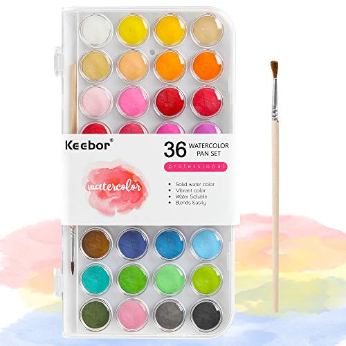Keebor Basic 36-Colors Watercolor PaintSet with a Wood Paint Brush, Perfect for Kids, Adults, Beginners, Professionals