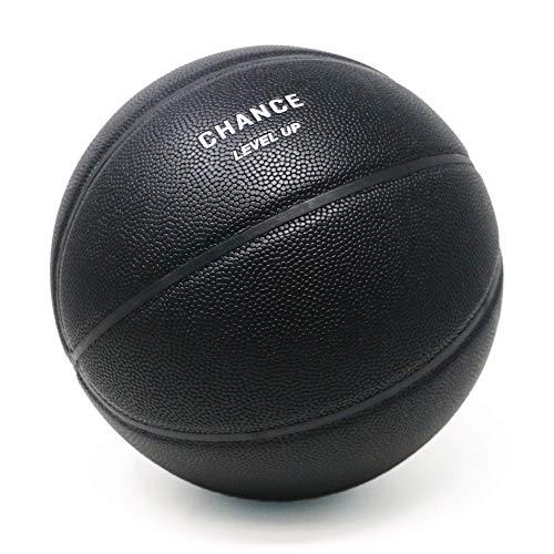 Chance Level Up Premium Mikrofaser Indoor Basketball – Größe 5 Jugendliche, Größe 6 Damen (NCAA Women\'s, WNBA), Größe 7 Herren (NBA, NCAA Men\'s), Schwarz, 7 Herren offiziell – 74,9 cm