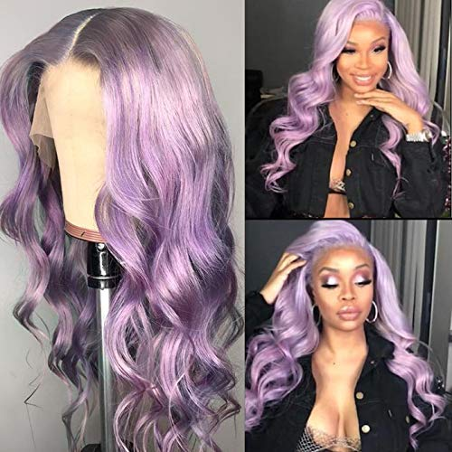 Purple Wig Evlynn Lace Front Wigs Long Wave Loose Curly Synthetic Fiber Heat Resistant Hair Glueless Natural Hairline Wigs With Baby Hair 24 Inch