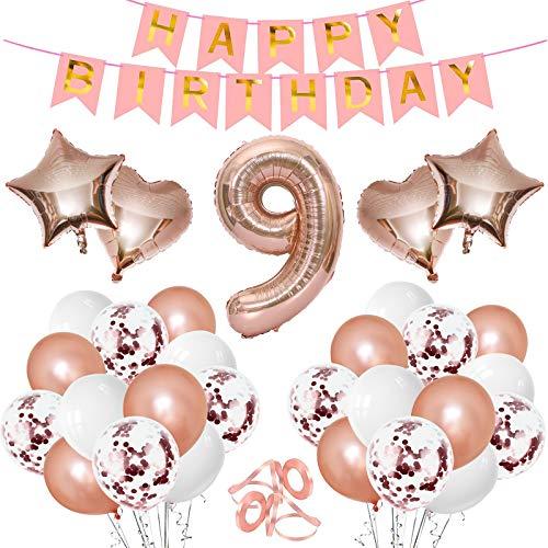 Gxhong Geburtstagsdeko Luftballons, Roségold Zahl 9 Riesen Folienballon Konfetti Ballon Herzballon Starnballon Zahlenballon Happy Birthday Girlande Banner für Kindergeburtstag Dekoration