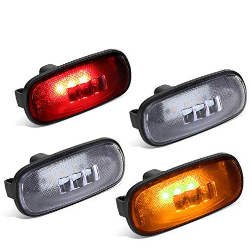 DNA Motoring FENDL-DRAM02-CH 4Pcs Clear Lens Dually Fender LED Side Marker Light Lamps