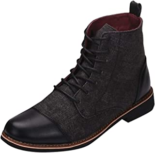 Serzul Men Outdoor Classic Oxford Dress Boots All Seasons Lace-Up Round Flat Boots Work Leisure Leather Boots