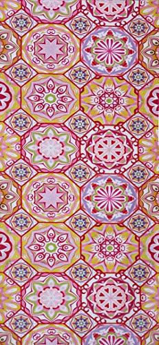 Alfombra de Pasillo de Poliester | Base PVC Antideslizante y Aislante Diseño Mandala Flores Geometricas (66_x_250_cm)