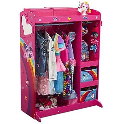 JoJo Siwa Dress & Play Boutique - Pretend Play Costume Storage Closet/Wardrobe for Kids with Mirror & Shelves by Delta Children