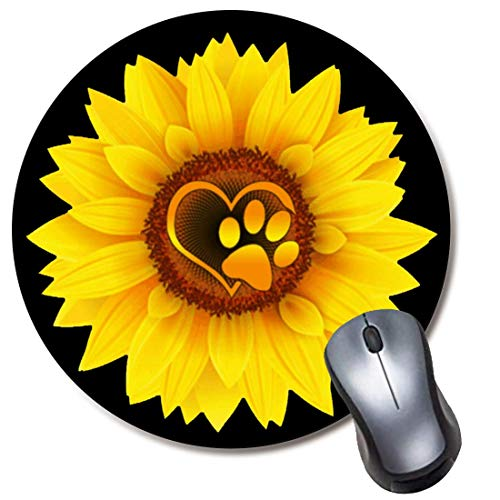 Round Mousepad,Non-Slip Rubber (8' Inch) Mouse Mat for Computer and Laptop - Cute Dog Paw Print Love Yellow Sunflower Black Mouse Pad