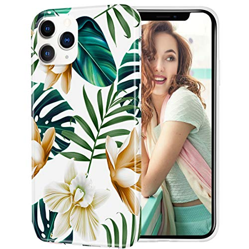 VePret Compatible with iPhone 12 Pro Max Case with Design for Girls Women, Floral Flower Cute Soft Silicone Protective Case for iPhone 12Pro Max 6.7 2022,Green/Palm Tree
