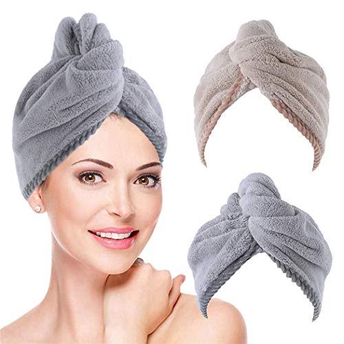 IYOU Toallas de secado de pelo Twist, color gris, absorbentes, rápidas, turbante de pelo, toalla de baño, salón, con botones, microfibra de secado rápido, sombrero para mujeres y niñas (paquete de 2)