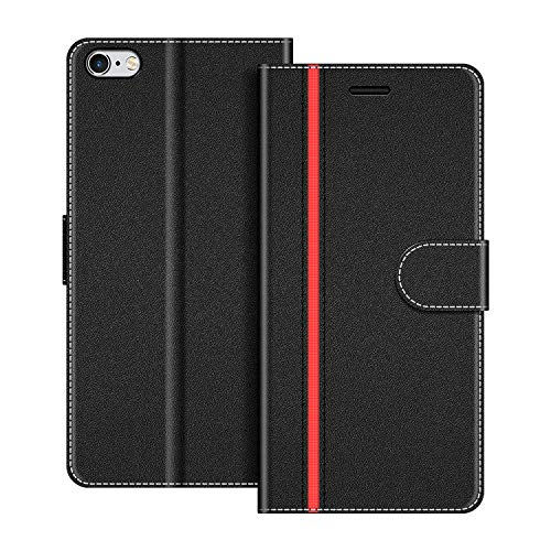 COODIO Funda iPhone 6S con Tapa, Funda Movil iPhone 6S, Funda Libro iPhone 6 Carcasa Magnético Funda para iPhone 6S / iPhone 6, Negro/Rojo