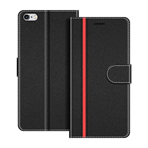 COODIO Handyhülle für iPhone 6S Plus Handy Hülle, iPhone 6S Plus Hülle Leder Handytasche für iPhone 6 Plus/iPhone 6S Plus Klapphülle Tasche, Schwarz/Rot