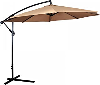 Taltintoo20 Tan Patio Umbrella Offset 10' 180g Water-Proof Polyester,Aluminum Pole, Crank Operation, Heavy-Duty Fabric