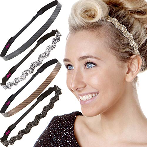 Hipsy Cute Fashion Adjustable No Slip Hairband Headbands for Women Girls & Teens (5pk Gold/Black/Gunmetal/Brown/Black Fashion Pack)