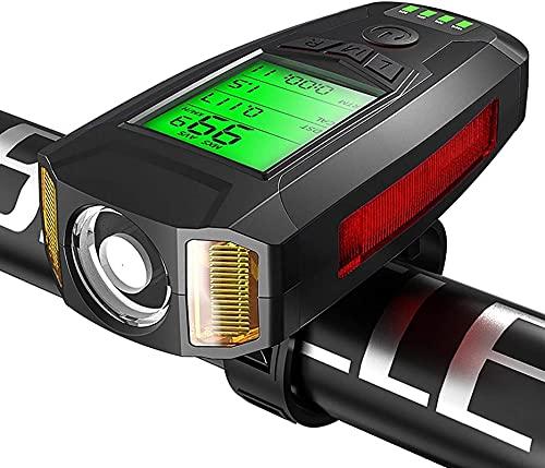 Bike Far Farlight Speedometer USB recargable con el velocímetro Odómetro Bike Bell Bell Horn, 5 modos de iluminación para los remolques nocturnos Hombres Mujeres Niños  Carretera Ciclismo de montaña