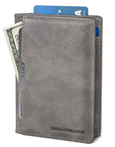 SERMAN BRANDS Geldbörse für Herren, schmal, Leder, RFID-blockierend, minimalistisch, Karten-Fronttasche, dreifach faltbar, Reiseetui - Grau - Slim