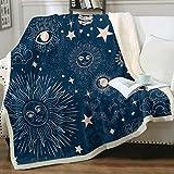Sleepwish Sun, Moon and Star Throw Blanket Boho Celestial Mandala Blue Fleece Blanket Cute Space Galaxy Sherpa Blanket for Kids Boy Girls, Throw(50'x60')