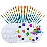 Juego de cepillos para pintar de artistas, 26 pinceles de acuarela de acrílico multifunción, de nailon, para pintar (20 cepillos azules, 6 paletas redondas)