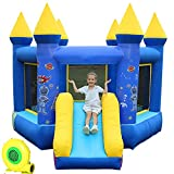 kxbyToy Inflatable Bounce House with Air Blower Inflatable Castle with Jumping Slide, Inflatable Bouncer Playhouse Slides for Kids
