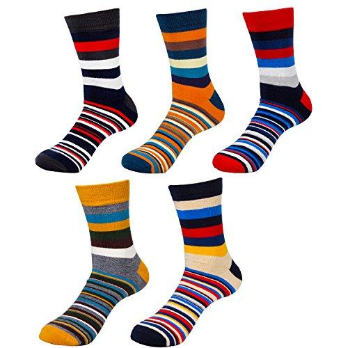 HBF Calcetines Termicos Hombre Algodon Calcetines Hombre Colores Calcetines Hombre Invierno (5 pares calcetines rayas)