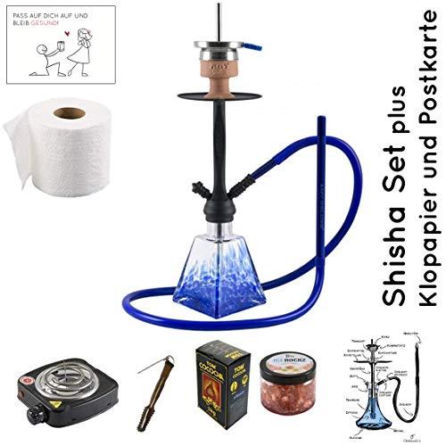 Shisha Set mit Shisha Amy I need you II, Kohleanzünder, Naturkohle, Kaminkopf, Dampfsteine und eine kleine Überraschung (Blau / Schwarz-Matt)