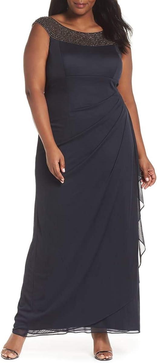 Xscape Womens Embellished Bateau Neck Prom Dress