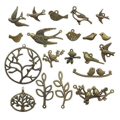 58 PCS Birds Tree Charms Collection - Mixed Bird Life of Tree Leaves Swallows Branch Connector Metal Pendants for Jewelry Making DIY Findings (Bronze HM13)