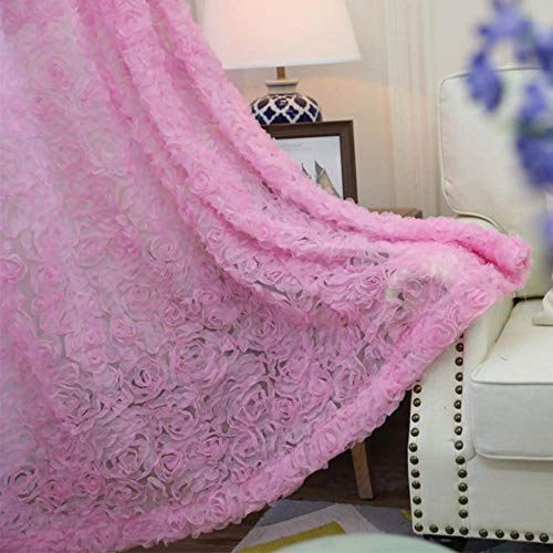 CTOBB Pastorale koreanische kreative weiße Spitze 3D Rose Vorhänge Voile benutzerdefinierte Fenstergitter für die Ehe Wohnzimmer Schlafzimmer wp148-30, rosa, 1 Stück W130CM X H200CM