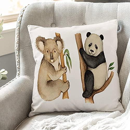 Fundas de Cojines 45x45 cm Funda de Almohada para Decoracion Sofá,Panda, Koala y Panda sentados en los árbo,Poliéster Moderna con Cremallera Invisible Funda de Cojin Decorativa para Cama Hogar, Coche