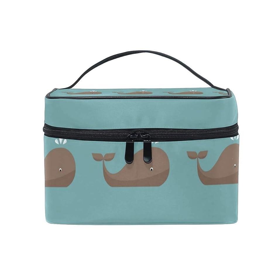 土カリキュラム柔らかい足メイクボックス クジラ柄 動物柄 海洋柄 化粧ポーチ 化粧品 化粧道具 小物入れ メイクブラシバッグ 大容量 旅行用 収納ケース