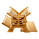 Earth Dream Bamboo Wood Foldable Drying Rack - Kitchen Dish Drainer with Dual Tiers for Plates - Collapsible Dish Strainer Utensil