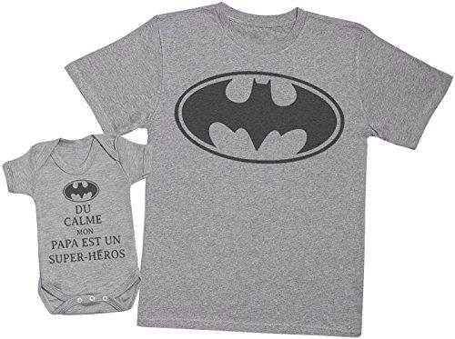 du Calme Mon Papa est Un Super-héros Batman - Ensemble Père Bébé Cadeau - Hommes T-Shirt & Body bébé - Gris - L & 3-6 Mois