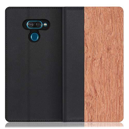 LOOF Nature LG K50 ケース 手帳型 カバー 本革 天然木 ベルト無し ウッド 木製 木 カード収納 カードポケット 本革 高級 スタンド機能 手帳型ケース スマホケース (花梨)
