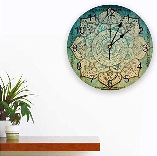 BINGTANGXUELI Co.,ltd Reloj De Pared Reloj De Pared con Estampado De Mandala Bohemio Descolorido, Diseño Moderno, Dormitorio, Silencioso, Reloj De Pared para Sala De Estar-30X30Cm
