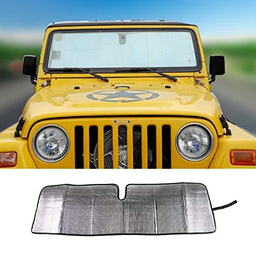 JeCar Windshield Sun Visor Foldable Sunshade Aluminum Foil Sun Shield for 2007-2018 Jeep Wrangler JK JKU & 1997-2006 Jeep Wrangler TJ LJ