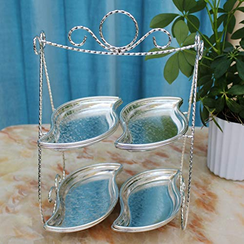CJH Europese Double-layer bladvorm fruitschaal Living Room Creative Twee-laags Etagere Dessert Sugar Gedroogd fruit Plate Afternoon Tea Alloy Snack Plate (Color : Silver)